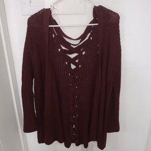 Sweaters - Maroon Knit Open Cardigan